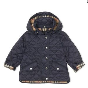Burberry Navy Quilted coat removable hood, 18M